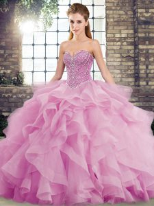 Beading and Ruffles Quinceanera Gown Lilac Lace Up Sleeveless Brush Train