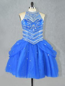 Affordable Halter Top Sleeveless Club Wear Mini Length Beading Blue Tulle
