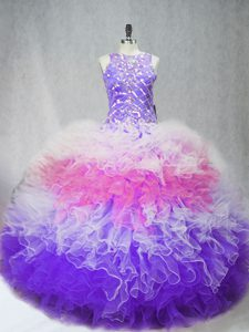 Pretty Multi-color Ball Gowns Scoop Sleeveless Tulle Floor Length Zipper Beading and Ruffles Sweet 16 Dresses