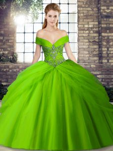 Pretty Off The Shoulder Neckline Beading and Pick Ups Ball Gown Prom Dress Sleeveless Lace Up