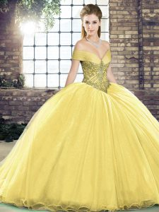 Inexpensive Gold Sweet 16 Dresses Organza Brush Train Sleeveless Beading