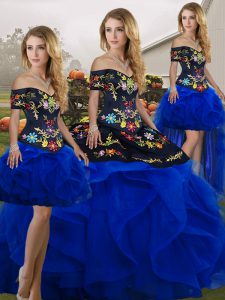 Customized Blue And Black Off The Shoulder Lace Up Embroidery and Ruffles Quinceanera Dress Sleeveless