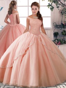 Customized Peach Off The Shoulder Lace Up Beading Quince Ball Gowns Brush Train Sleeveless