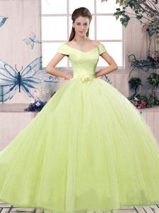 Unique Ball Gowns Quinceanera Gowns Yellow Green Off The Shoulder Tulle Short Sleeves Floor Length Lace Up