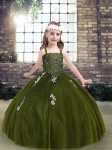 Fashionable Olive Green Strapless Lace Up Appliques Glitz Pageant Dress Sleeveless