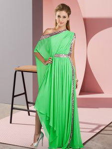Cute Green Side Zipper One Shoulder Sequins Homecoming Dress Chiffon Sleeveless
