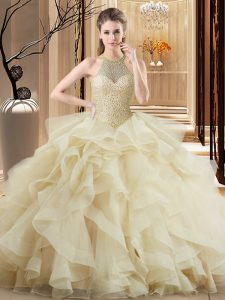 Champagne Sleeveless Brush Train Beading and Ruffles Quince Ball Gowns