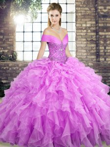 Lilac Lace Up Off The Shoulder Beading and Ruffles 15 Quinceanera Dress Organza Sleeveless Brush Train