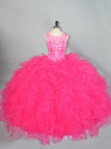 Superior Hot Pink Lace Up Scoop Beading and Ruffles Vestidos de Quinceanera Organza Sleeveless