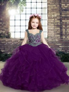 Eggplant Purple Pageant Gowns For Girls Party and Military Ball and Wedding Party with Beading and Ruffles Straps Sleeveless Lace Up