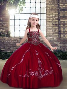 Top Selling Floor Length Lace Up Pageant Dress Toddler Wine Red for Party and Military Ball and Wedding Party with Beading