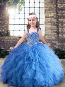 Trendy Sleeveless Floor Length Beading and Ruffles Lace Up Pageant Dress for Womens with Blue