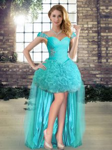 Hot Sale Aqua Blue Lace Up Off The Shoulder Beading Homecoming Dress Fabric With Rolling Flowers Sleeveless