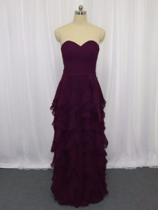 Exceptional Ruffled Layers and Ruching Homecoming Dress Dark Purple Zipper Sleeveless Floor Length