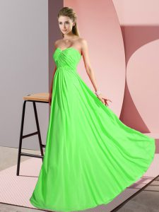 Free and Easy Sleeveless Floor Length Ruching Lace Up Dress for Prom with