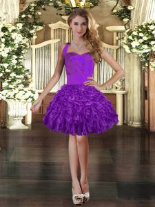 Free and Easy Purple Sleeveless Mini Length Ruffles Lace Up Dress for Prom