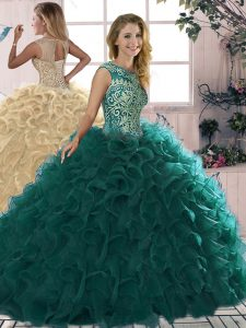 Flare Peacock Green Ball Gowns Beading and Ruffles Sweet 16 Dresses Lace Up Organza Sleeveless Floor Length