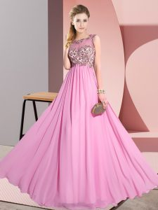 Stunning Chiffon Scoop Sleeveless Backless Beading and Appliques Vestidos de Damas in Rose Pink