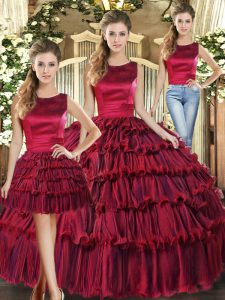 Exceptional Wine Red Lace Up Scoop Ruffled Layers Quinceanera Gown Organza Sleeveless