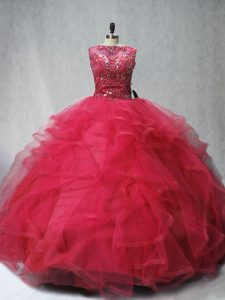 Sleeveless Brush Train Beading and Ruffles Lace Up Ball Gown Prom Dress