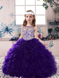 Purple Ball Gowns Beading and Ruffles High School Pageant Dress Lace Up Organza Sleeveless Floor Length