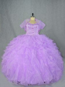 Enchanting Sleeveless Organza Asymmetrical Side Zipper Quinceanera Gowns in Lavender with Beading and Ruffles