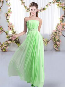 Beauteous Strapless Sleeveless Chiffon Wedding Party Dress Beading Sweep Train Lace Up
