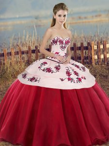 White And Red Sleeveless Floor Length Embroidery and Bowknot Lace Up Vestidos de Quinceanera