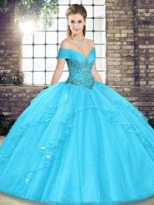 Off The Shoulder Sleeveless Lace Up Quinceanera Dresses Aqua Blue Tulle
