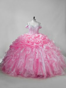 Comfortable Pink Lace Up Quinceanera Dress Beading and Ruffles and Pick Ups Sleeveless Brush Train