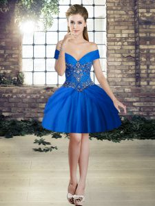 Elegant Mini Length Lace Up Evening Dress Royal Blue for Prom and Party with Beading