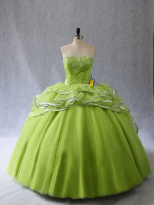 Sweetheart Sleeveless Organza and Tulle Quinceanera Gown Appliques and Ruffles Brush Train Lace Up