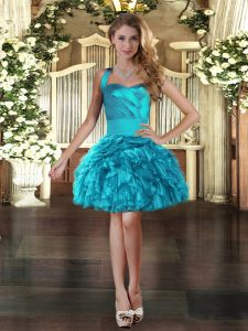 Super Mini Length Lace Up Evening Dress Turquoise for Prom and Party with Ruffles