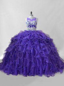Sleeveless Organza Brush Train Zipper Quinceanera Dress in Purple with Beading and Ruffles