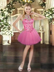 Fine Pink Sleeveless Mini Length Beading Lace Up Dress for Prom