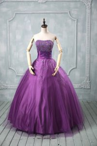 Eggplant Purple and Purple Tulle Lace Up Strapless Sleeveless Floor Length 15 Quinceanera Dress Beading