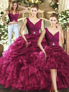 Graceful Burgundy V-neck Backless Ruffles and Pick Ups Quinceanera Dresses Sleeveless