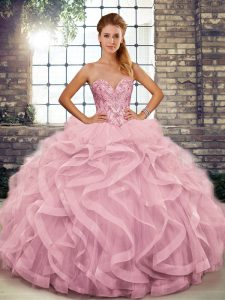 Pink Sleeveless Tulle Lace Up Quinceanera Gowns for Military Ball and Sweet 16 and Quinceanera