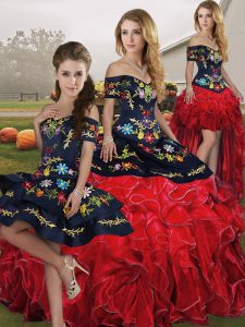 Amazing Red And Black Lace Up Quinceanera Dress Embroidery and Ruffles Sleeveless Floor Length