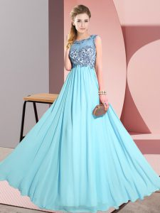 Sophisticated Aqua Blue Chiffon Backless Scoop Sleeveless Floor Length Dama Dress for Quinceanera Beading and Appliques