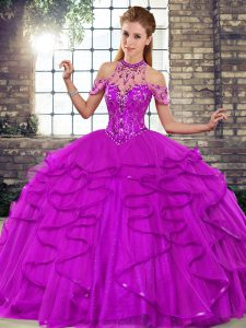 Purple Halter Top Lace Up Beading and Ruffles Vestidos de Quinceanera Sleeveless