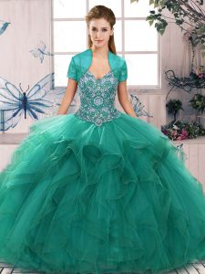 Customized Turquoise Sleeveless Beading and Ruffles Floor Length 15 Quinceanera Dress