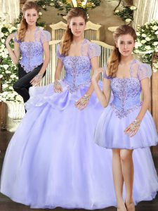 Sleeveless Floor Length Beading and Appliques Lace Up Sweet 16 Dress with Lavender