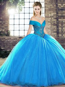Decent Sleeveless Organza Brush Train Lace Up Quinceanera Dress in Blue with Beading