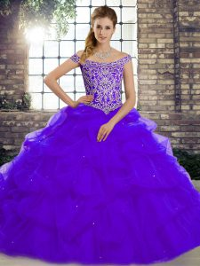 Purple Ball Gowns Tulle Off The Shoulder Sleeveless Beading and Pick Ups Lace Up Quinceanera Dresses Brush Train