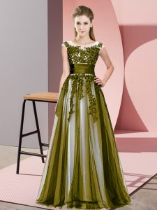 Scoop Sleeveless Zipper Dama Dress for Quinceanera Olive Green Tulle