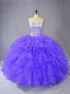 Enchanting Floor Length Lace Up Quinceanera Gown Purple for Sweet 16 and Quinceanera with Ruffles