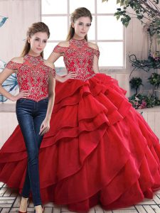 Lace Up Quince Ball Gowns Red for Sweet 16 and Quinceanera with Beading and Ruffles