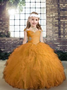 Best Gold Ball Gowns Straps Sleeveless Tulle Floor Length Lace Up Beading and Ruffles Little Girl Pageant Gowns