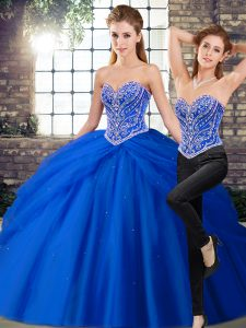 Royal Blue Quinceanera Gowns Sweetheart Sleeveless Brush Train Lace Up